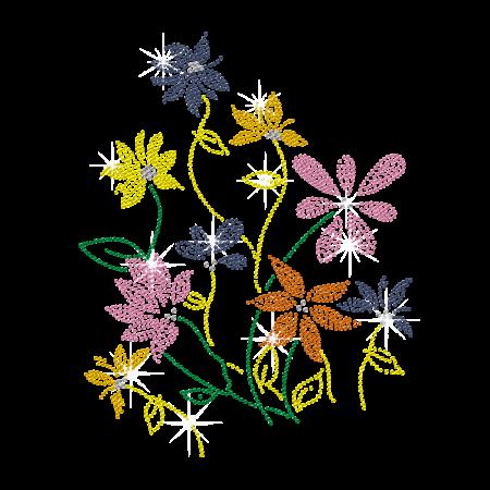 Rhinestone Colorful Rural Flowers Iron on Transfer