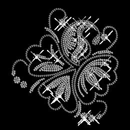 Rhinestone and Rhinestud Flower Iron on Motifs