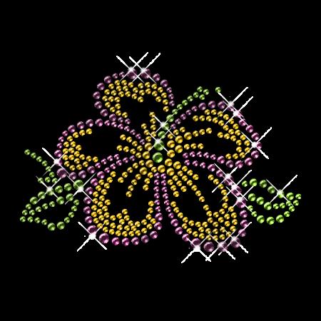 Single Purple Rhinestone Flower Iron on Motifs