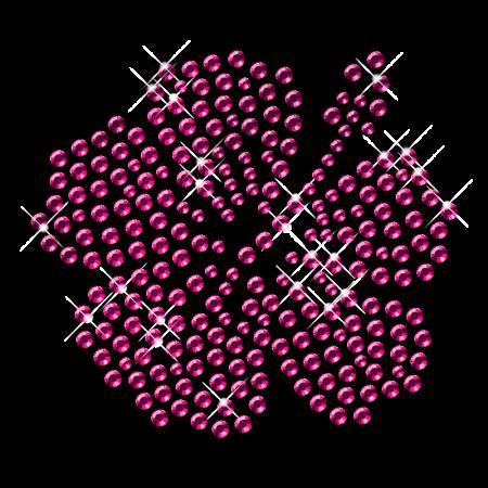 Shining Pink Rhinestone Flower Iron on Motifs