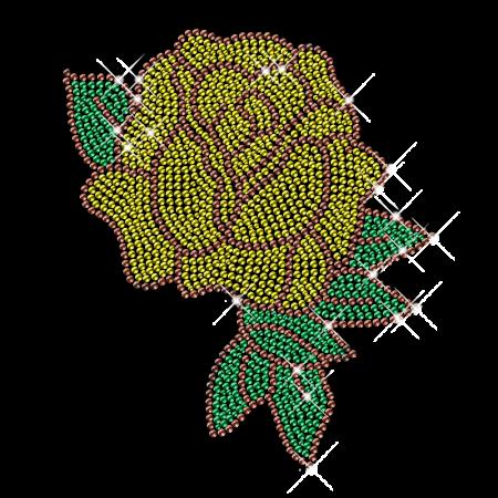 Yellow Rhinestone Flower with Green Leaves Iron on Motifs