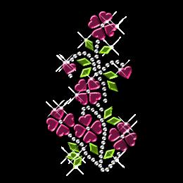 Shining Rhinestone and Nailhead Round Flower Iron on Motifs