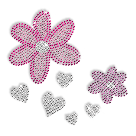 Rhinestone Flower and Heart Iron on Motif