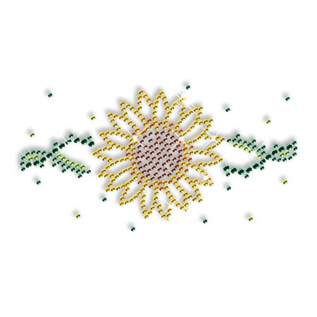 Shining Rhinestone Sunflower Iron on Transfer