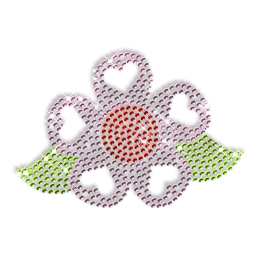 Rhinestone Flower with Heart Iron on Motif