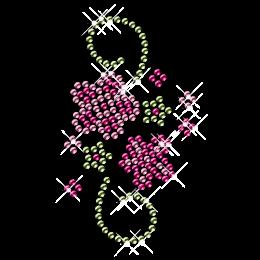 Rhinestone Pink Flower Iron on Motif