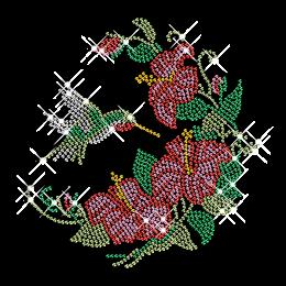 Rhinestone Bird and Flowers Iron on Motif