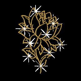 Gold Lotus Flower Iron-on Rhinestone Transfer Design