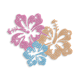 Colorful Flowers Hot-fix Iron-on Rhinestone Transfer Design