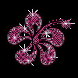 Pretty Pink Flower Iron-on Rhinestud Rhinestone Transfer