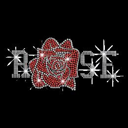 Beautiful Ruby Rose Iron-on Flower Rhinestone Transfer