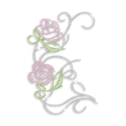 Pretty Bling Pink Flowers Iron on Rhinestone Transfer