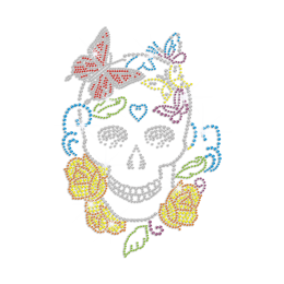 Cool Skull Meets Flowers Iron-on Rhinestone Transfer