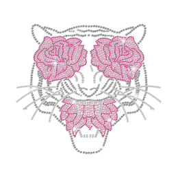 Unique Tiger Flower Eyes Iron-on Rhinestone Transfer