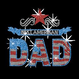Best American Dad Iron on Flatback Rhinestud Glitter Applique