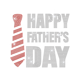 Happy Father\'s Day with Bling Tie Iron on Rhinestone Transfer Motif