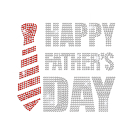 Happy Father's Day with Bling Tie Iron on Rhinestone Transfer Motif