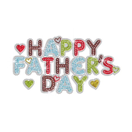 Colorful Bling Happy Father's Day Rhinestone Glitter Iron On