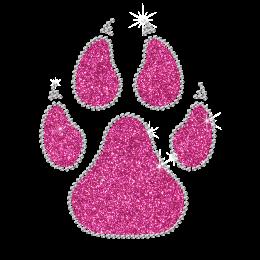 Shining Glitter Hotfix Pink Paw Bling Motif