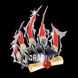 Glitter Scratch Grad Iron on Motif