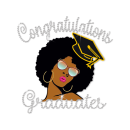 Stock Afro Girl Graduate Diamante Design