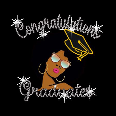 Stock Afro Girl Graduate Diamante Design