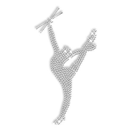 Shining Rhinestone Pure Crystal Gymnastics Beauty Iron on Transfer Design