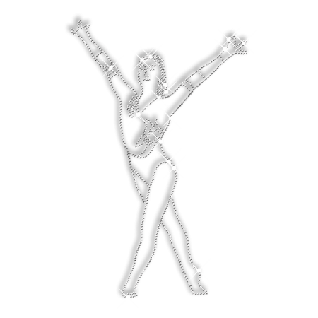 Rhinestone Pure Crystal Gymnastics Woman Iron on Transfer Motif for Clothes