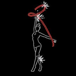 Twinkling Ribbon Gymnastics Girl Iron Rhinestone Design
