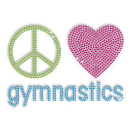 Peace Love Gymnastics Hotfix Rhinestone Transfer