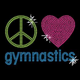 Peace Love Gymnastics Hotfix Rhinestone Transfer