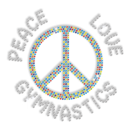 Shining Peace Love Gymnastics Hotfix Bling Design