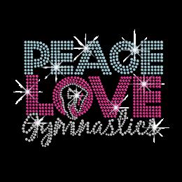 Colorful Peace Love Gymnastics Iron-on Rhinestone Transfer