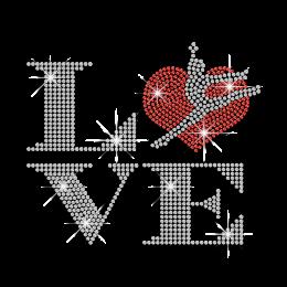 Customizable Gymnastics Heart Love Iron-on Rhinestone Transfer