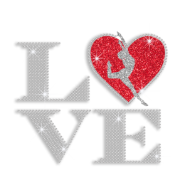 Bling Heart with Gymnastics Love Iron-on Rhinestone Transfer