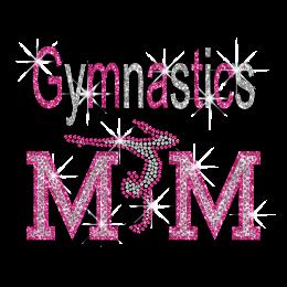 Bling Pink Gymnastics Mom Glitter Rhinestone Hotfix Transfer