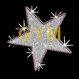 Shimmery GYM Star Iron-on Glitter Rhinestone Transfer