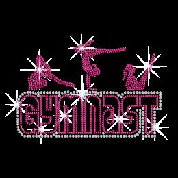 Rose Pink Gymnast Iron-on Rhinestone Transfer