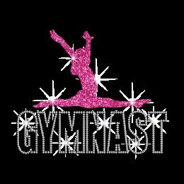 Professional GYM Girl Iron-on Glitter Rhinestone Transfer