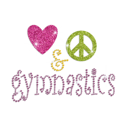 Heart and Peace Pattern with the Word Gymnastic Hotfix Rhinestone