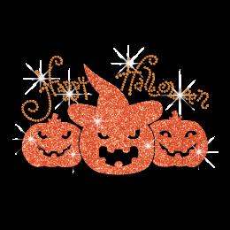 Happy Halloween Pumpkins Iron-on Glitter Rhinestone Transfer
