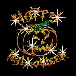 Happy Halloween Pumpkin Iron on Rhinestone Transfer