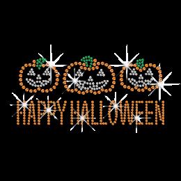 Happy Halloween Pumpkins Iron-on Rhinestone Transfer
