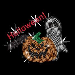 Halloween Pumpkin & Ghost Iron-on Glitter Rhinestone Transfer