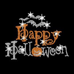 Bling Happy Halloween Iron-on Rhinestone Transfer