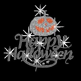 Happy Halloween Iron on Glitter Rhinestone Transfer Motif