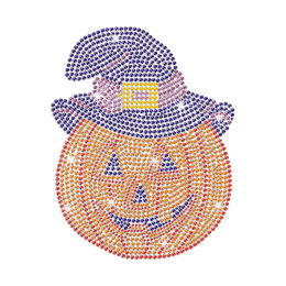 Bling Pumpkin with Wizard\'s Hat Iron on Rhinestone Transfer Decal