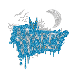 Custom Happy Halloween Iron on Glitter Rhinestone Transfer Decal