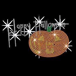 Happy Halloween with Bling Pumpkin Iron on Rhinestone Transfer Decal