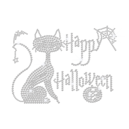 Crystal Happy Halloween with A Cute Kitty Rhinestone Iron On